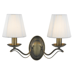 ANDRETTIE ANTIQUE BRASS 2 LIGHT WALL LAMP