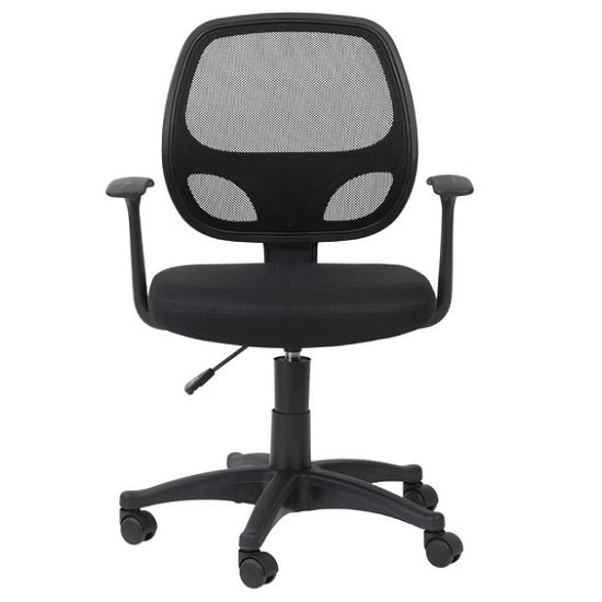 Davis Home & Office Chair In Black With Fabric Seat_1