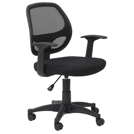 Davis Home & Office Chair In Black With Fabric Seat_2