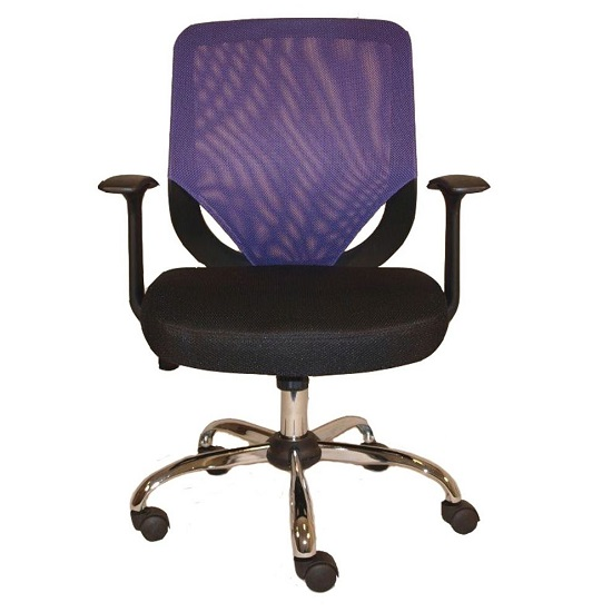 Atlanta Home Office Chair In Black And Purple With Fabric Seat_1