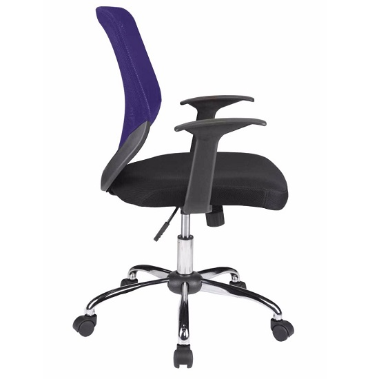 Atlanta Home Office Chair In Black And Purple With Fabric Seat_3