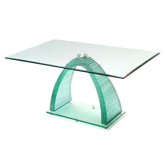 Armenia Dining Table In All Glass With Chrome Support