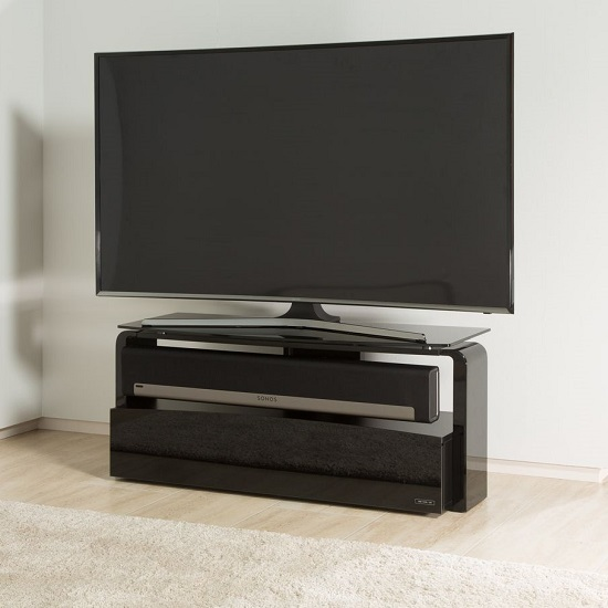Squill Glass TV Stand In Black Finish With Sonos Playbar