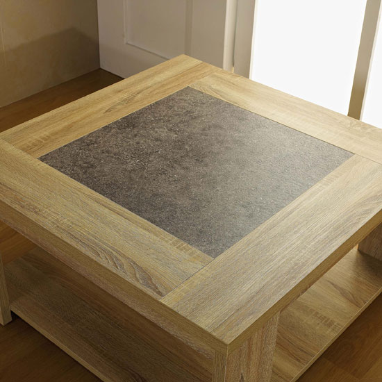 Linus 79cm White Marble Coffee Table: Liana Coffee Table In Sonoma Oak With Undershelf 23375