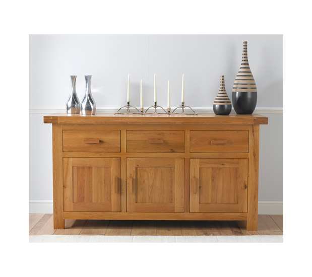 Carlotta Large Sideboard In Oak Wax With 3 Doors And 3 Drawers
