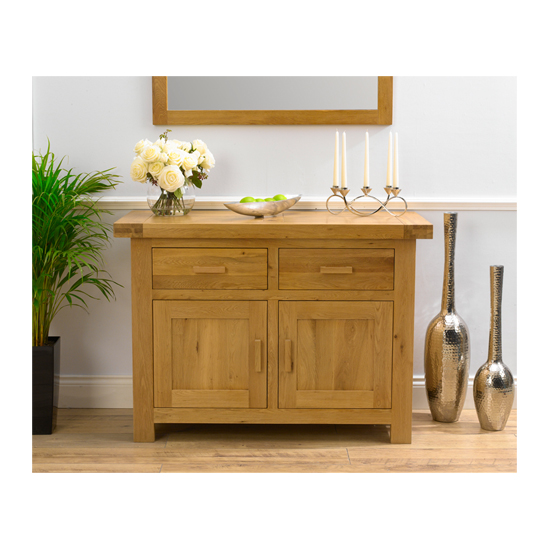 Carlotta Small Sideboard In Oak Wax With 2 Doors And 2 Drawers