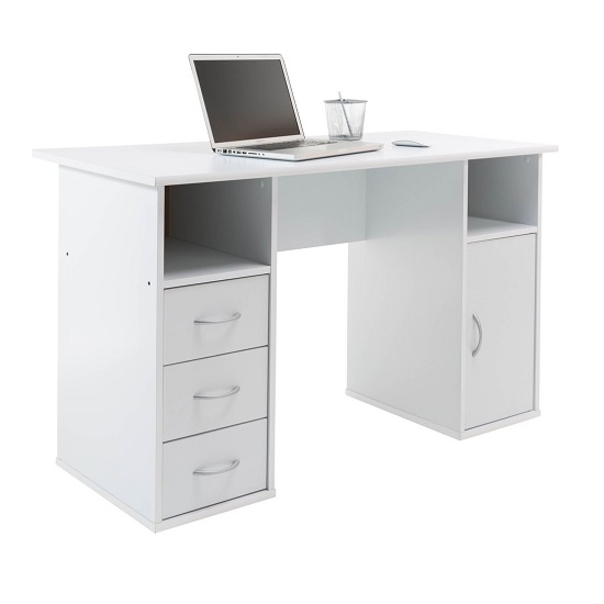 Tunisia Wooden Computer Table In White Effect With 3 Drawers