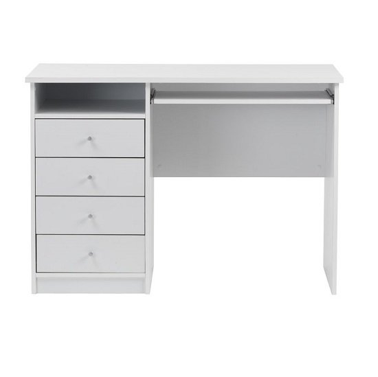 Mount Computer Desk In White With Four Drawers_2