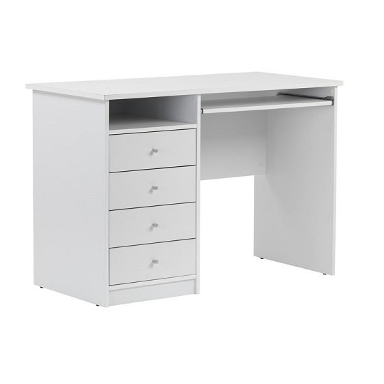 Mount Computer Desk In White With Four Drawers_3