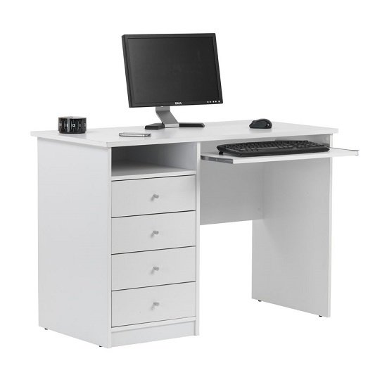 Mount Computer Desk In White With Four Drawers