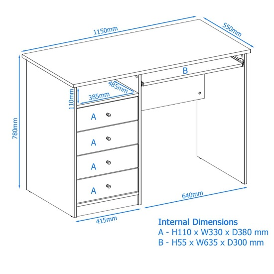 Mount Computer Desk In White With Four Drawers_4