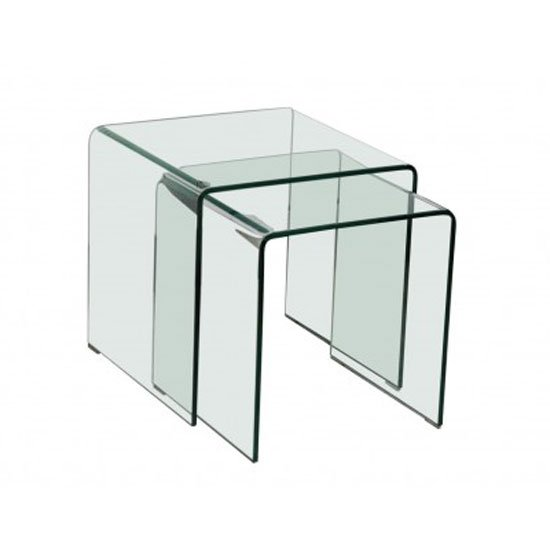Azuria clear glass set of nesting tables