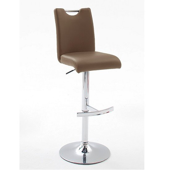 Aachen Bar Stool In Cappuccino Faux Leather With Chrome Base