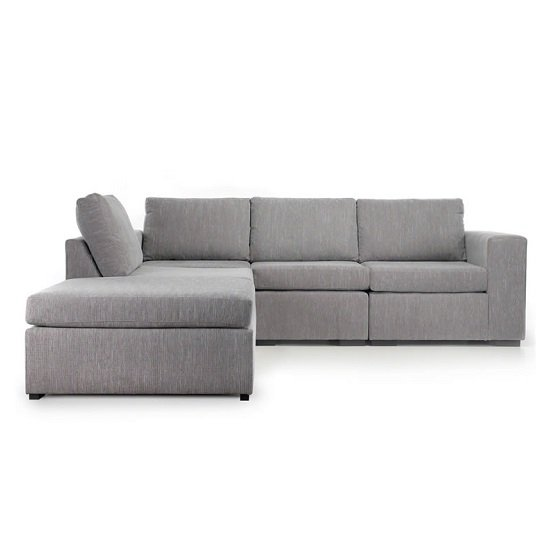 Cross Reversible Corner Sofa In Light Grey Fabric And Black Feet