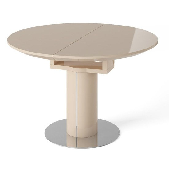 Abramo Extendable Dining Table In Cream High Gloss_1