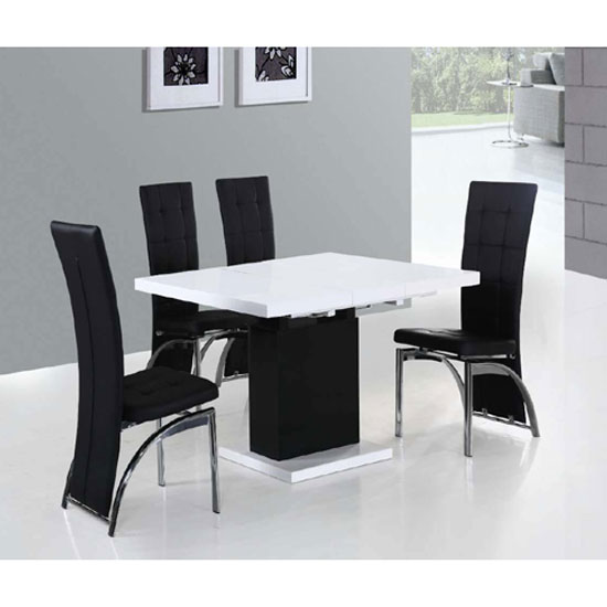 Space Extending Dining Table In High Gloss With 4 Ravenna Chairs