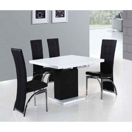 hygena white gloss space saver table and 4 chairs
