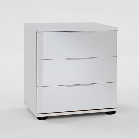 On Bedside Cabinet In White With 3 High Gloss Drawer