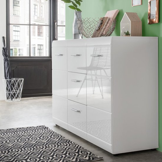 Adrian Sideboard In White With High Gloss Fronts And 2 Doors_4