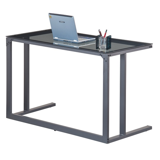 Aswan Glass Computer Desk In Smoked With Black Metal Frame_2