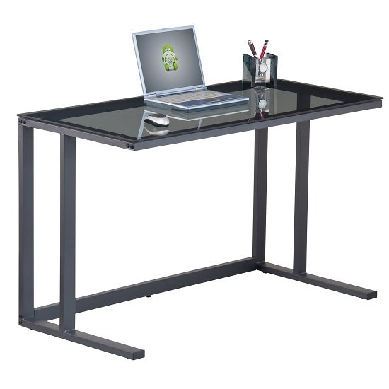 Aswan Glass Computer Desk In Smoked With Black Metal Frame 1