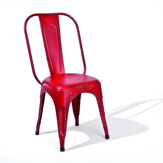 Aix Stackable Metal Dining Chair In Red
