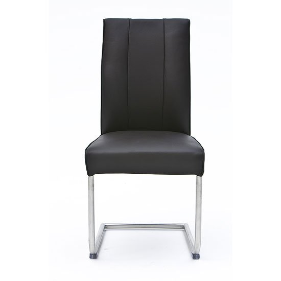 Alamona 1 Dining Chair In Black Faux Leather