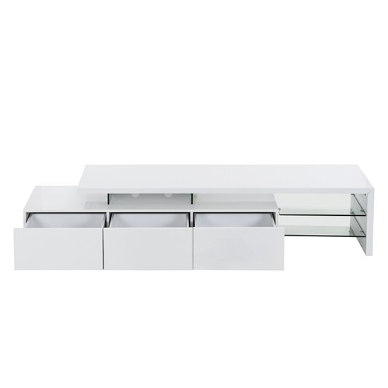 Alanis Modern TV Stand In White High Gloss With LED Lights_2