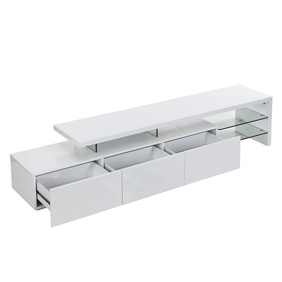 Alanis Modern TV Stand In White High Gloss With LED Lights_3