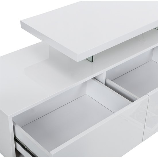 Alanis Modern TV Stand In White High Gloss With LED Lights_4