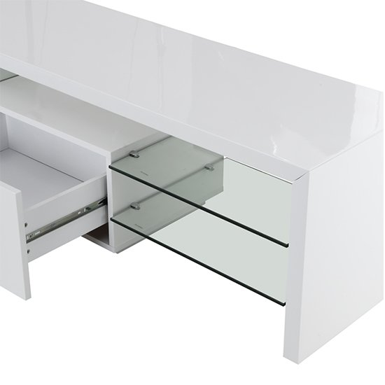 Alanis Modern TV Stand In White High Gloss With LED Lights_5