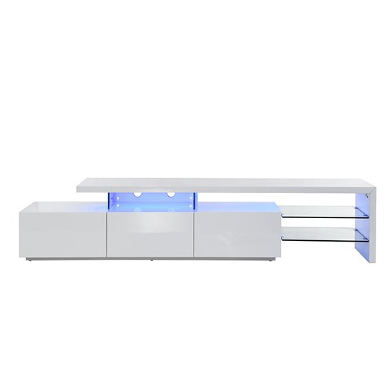 Alanis Modern TV Stand In White High Gloss With LED Lights_7
