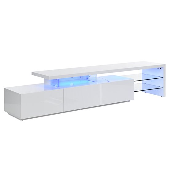 Alanis Modern TV Stand In White High Gloss With LED Lights_8