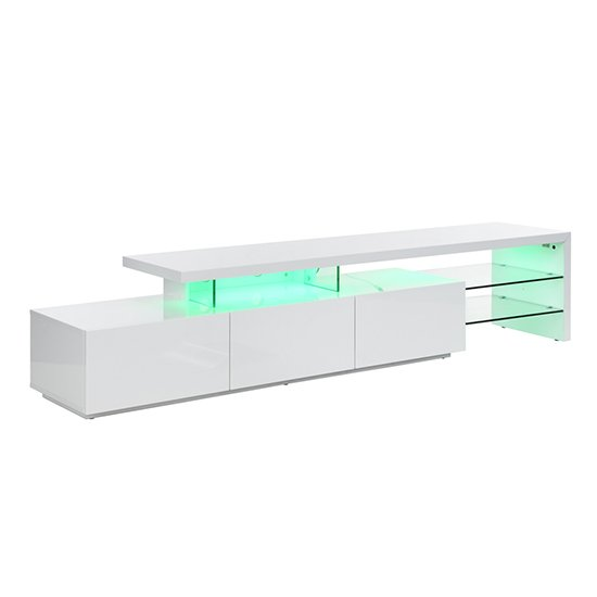 Alanis Modern TV Stand In White High Gloss With LED Lights_9