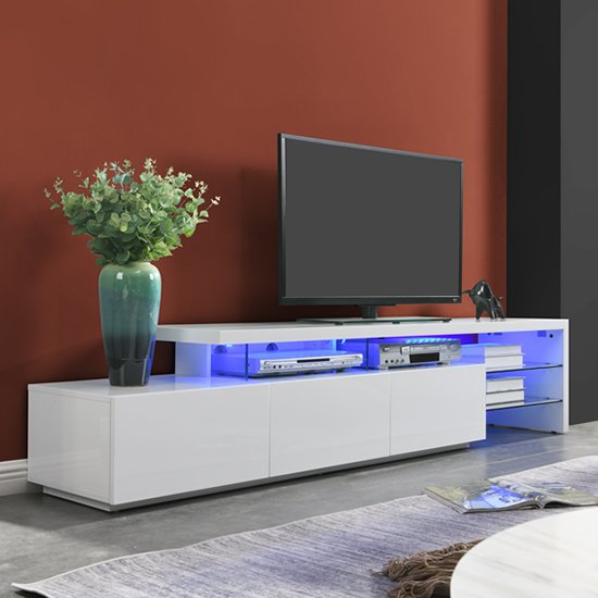 Alanis Modern TV Stand In White High Gloss With LED Lights