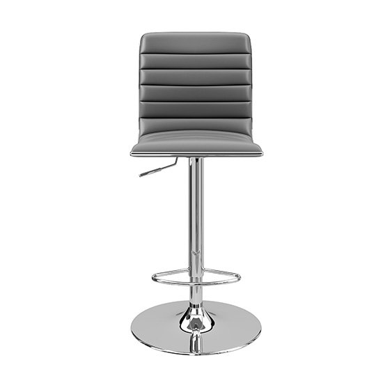 Albany Faux Leather Bar Stool In Grey With Chrome Base