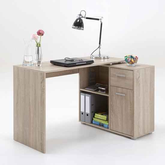 Albea Rotating Corner Computer Desk In Oaktree