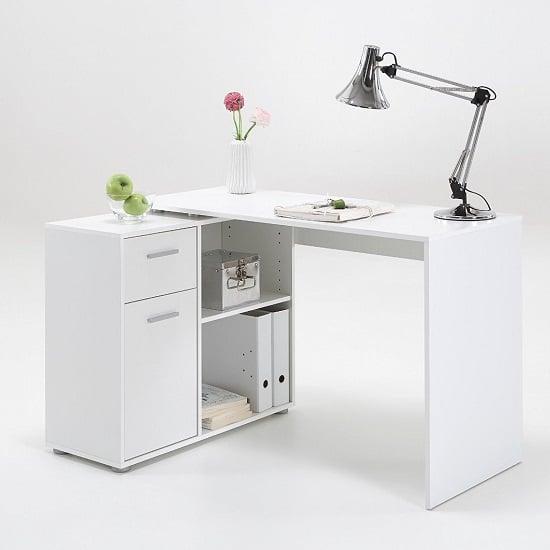 albea rotating corner computer desk in white 22597. Black Bedroom Furniture Sets. Home Design Ideas