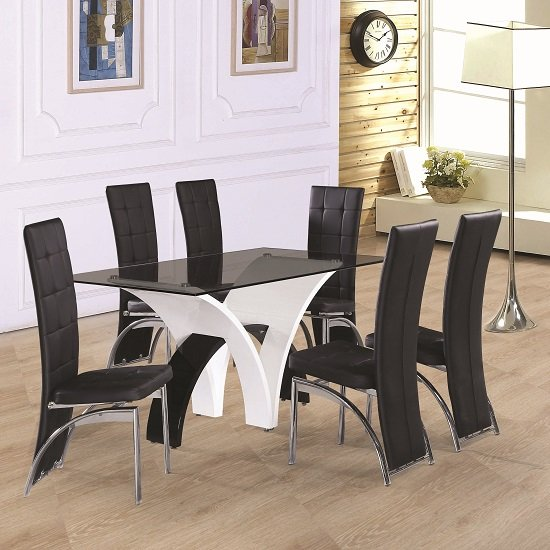 Ameria Dining Table In Smoked Glass With 6 Ravenna Dining Chairs