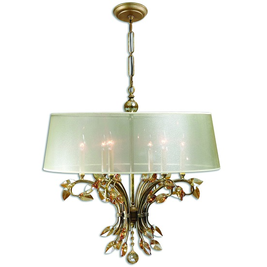 Amana 6 Light Chandelier Ceiling Light In Burnished Gold Metal