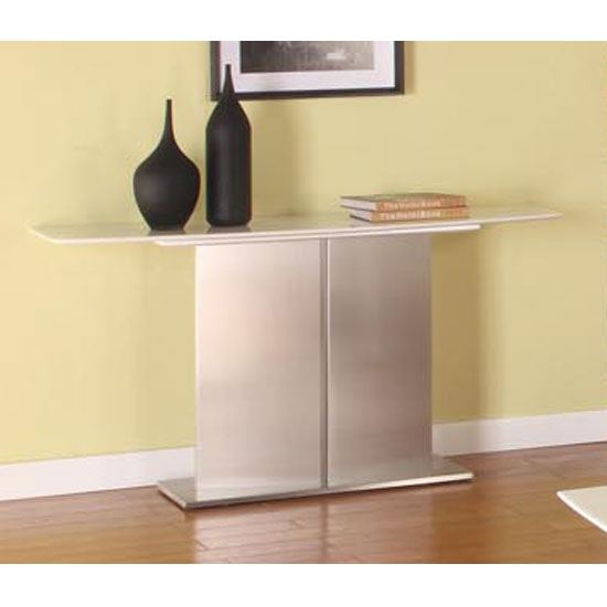 Alessia Contemporary White Marble Console Table