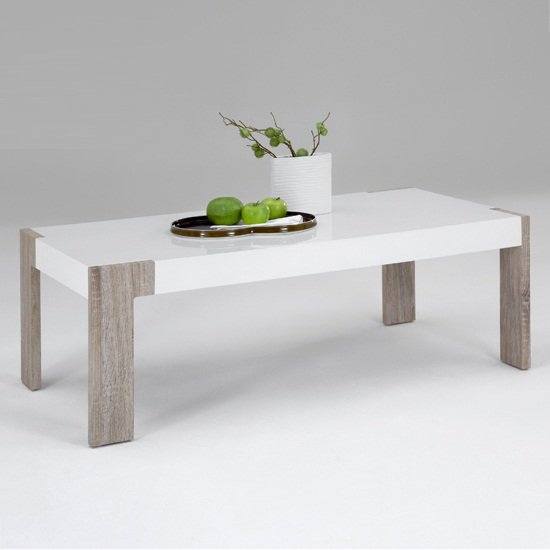 Alex oak white coffee tablee - How Long Should A Coffee Table Be: Different Material Examples
