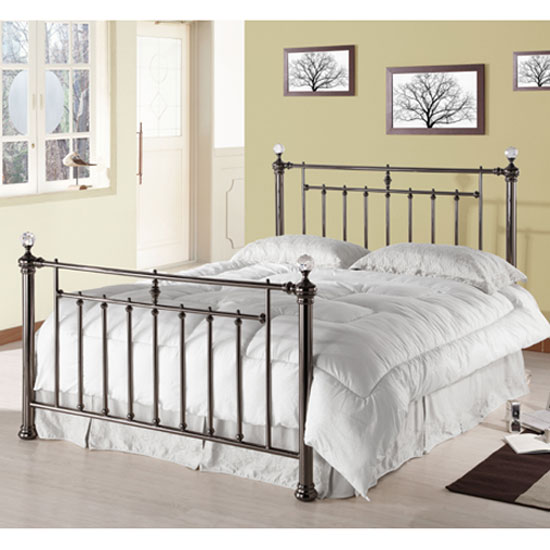 Read more about Alexander black nickel metal double bed with crystal finials