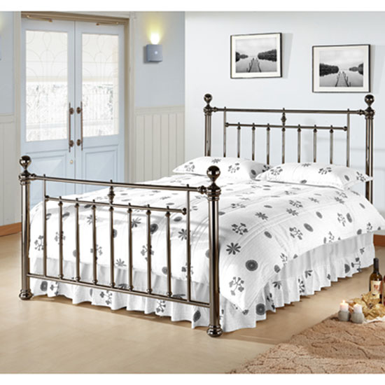 Read more about Alexander black nickel metal double bed with nickel finials