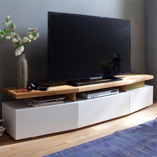 Alexia Wooden TV Stand In Knotty Oak And Matt White_1