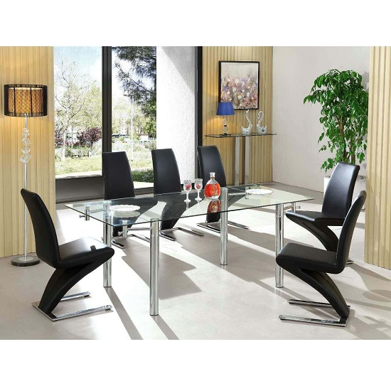 Alicia Extending Dining Table Set In Clear Glass With 6 Z Chairs_1