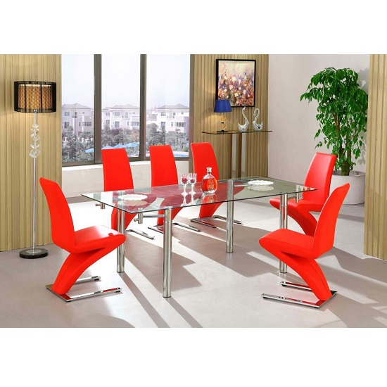 Alicia Extending Glass Dining Table With 6 Demi Chair In Red