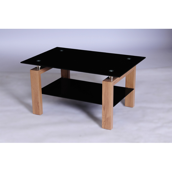 Alina Black Glass Coffee Table With Undershelf And Oak