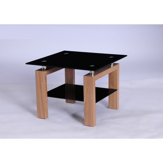 Alina Black Glass Lamp Table With Undershelf And Oak Legs