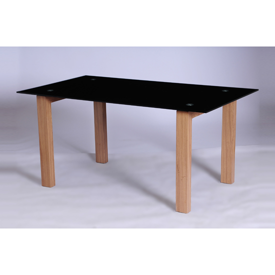 Alina black glass large dining table 17317 furniture in for Large black dining room table